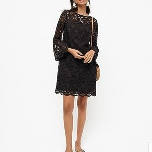 NWT J. Crew Black Eyelet Bell Sleeve Sheath Dress